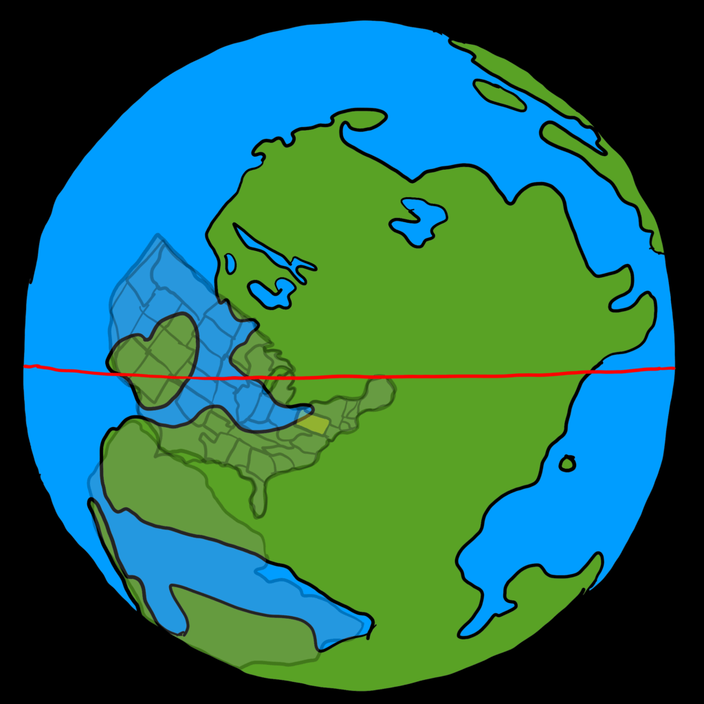 Map showing the united states positioned below the equator with varying landmasses.