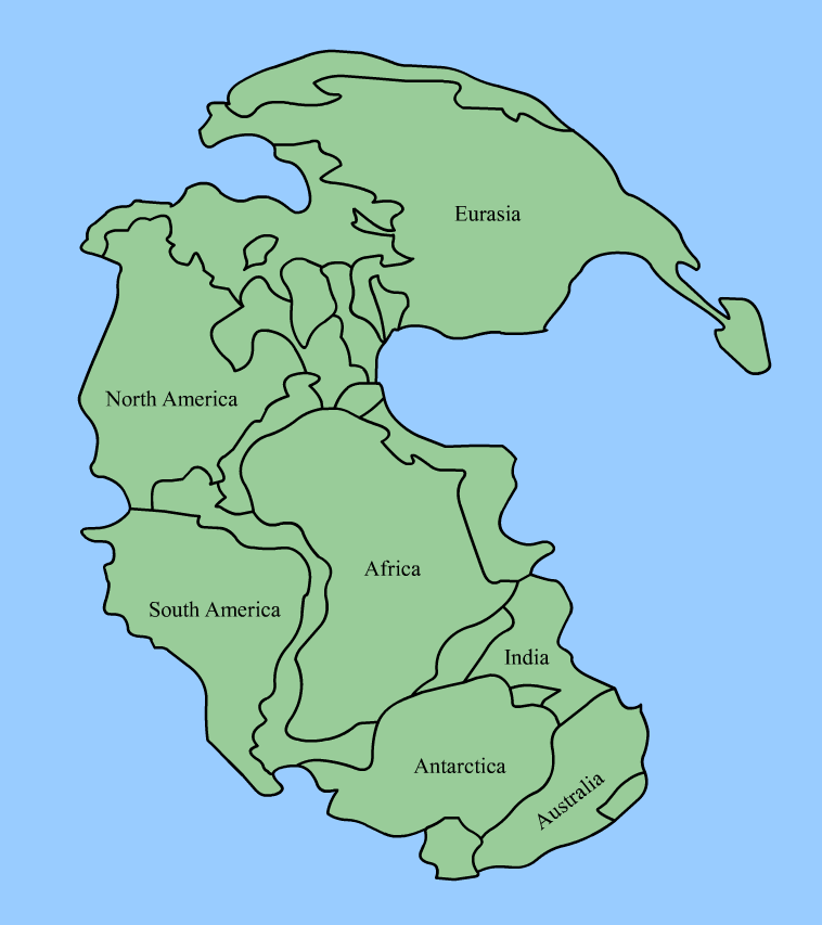Map of Pangaea during the P-T Extinction Event by Wikipedia user LucasVB
