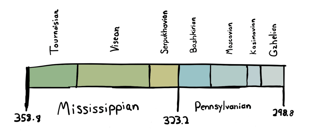Carboniferous timeline showing various chronostratigraphic stages.